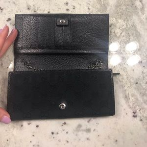 Gucci Bags - Black Gucci GG Canvas & Leather Wallet w/Chain